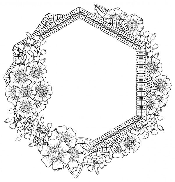 헤나, 멘디, 문신, 장식용 꽃과 만다라 형태의 사각형 패턴. 민족 오리엔탈 스타일의 장식 장식. 색칠하기 책 페이지. 프리미엄 벡터
