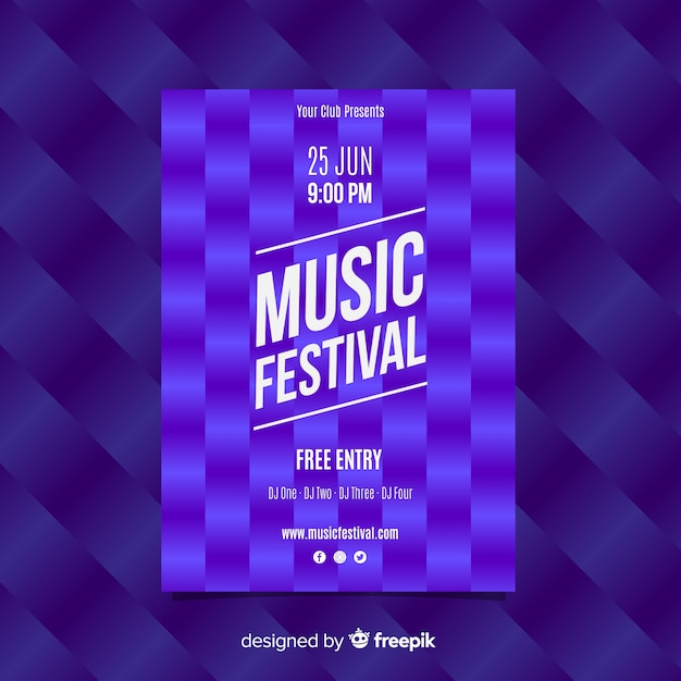 Square pattern music festival poster Free Vector