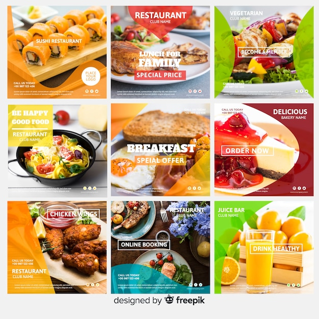 Square photographic food banner set Free Vector