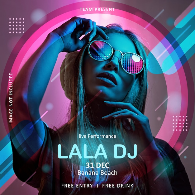 Square poster or flyer template for music event dj Premium Vector