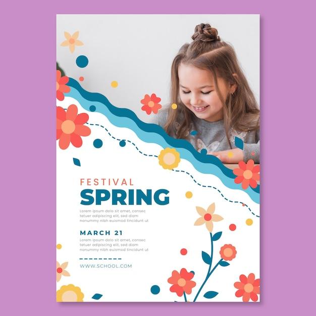 子供と春の正方形のポスターテンプレート 無料ベクター