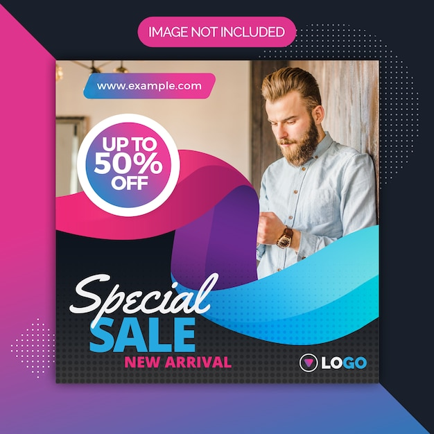 Square sale promotion post template for instagram Premium Vector