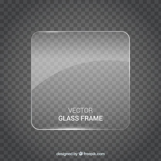Square shaped glass frame in realistic style Free Vector