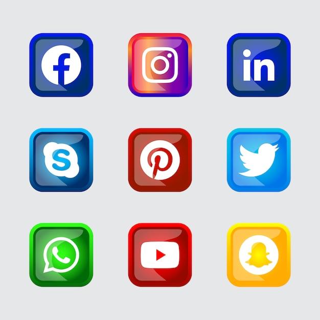 Ux Ui 온라인 사용을 위해 설정된 그라디언트 효과가있는 사각 반짝 이는 실버 프레임 소셜 미디어 아이콘 버튼 프리미엄 벡터