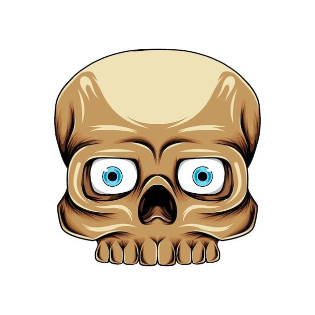 갈색 피부를 가진 파란 렌즈를 가진 사각 두개골 머리 프리미엄 벡터