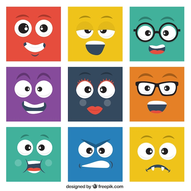 Square smileys pack Premium Vector