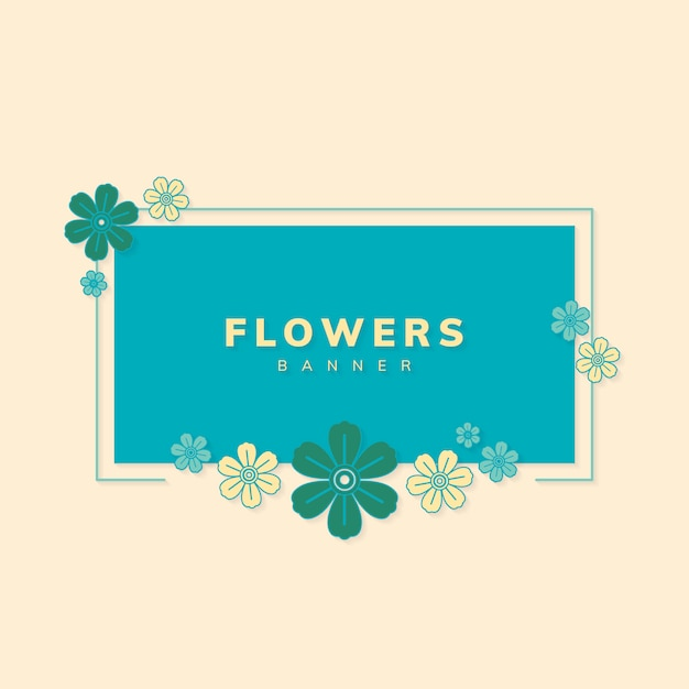 Square spring flower badge vector Free Vector