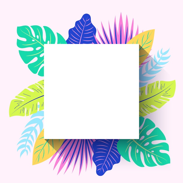 Square tropical summer frame Free Vector
