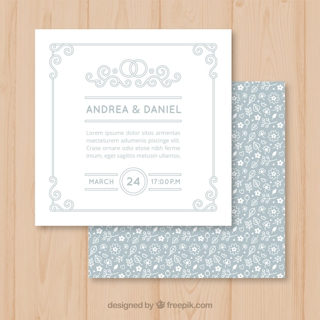 Square Wedding Cards Vector Free Download