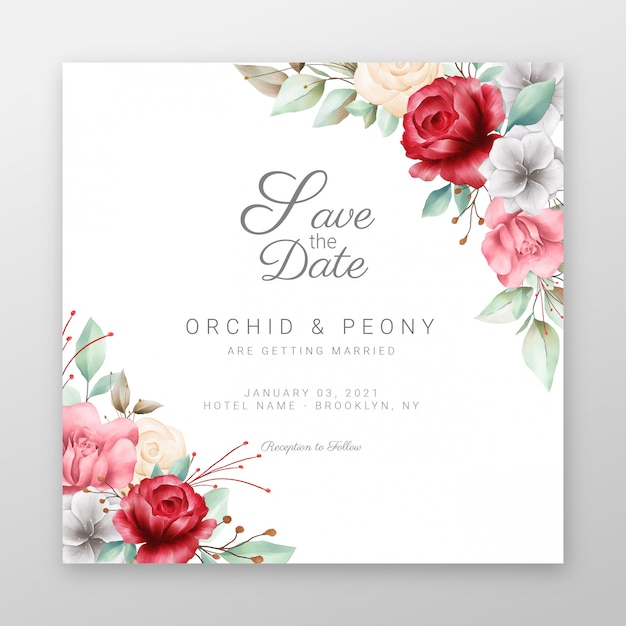Premium Vector Square Wedding Invitation Cards With Beautiful Flowers Border,Beautiful Master Bedroom Designs For Girls