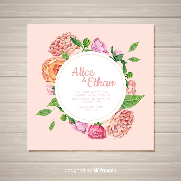 Square wedding invitation template with peony flowers concept Free Vector