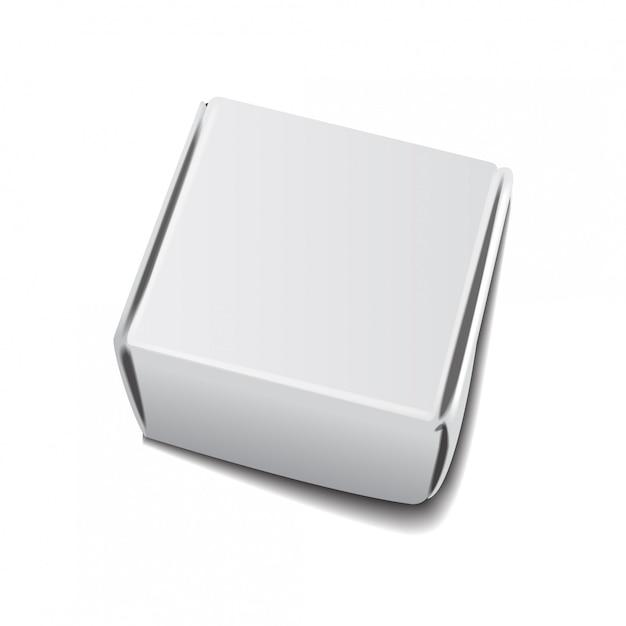 正方形の白いクラフト紙の箱、ギフトまたはハンドルテンプレート付き食品包装。板紙段ボール Premiumベクター