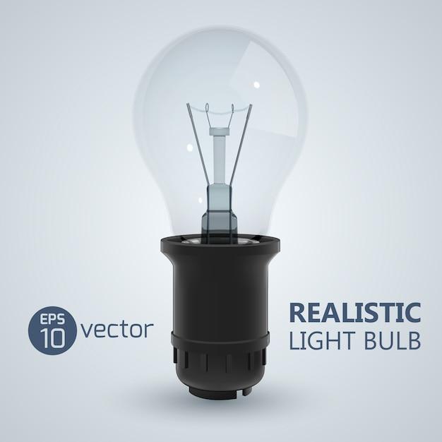 Квадрат с реалистичным изображением лампы накаливания, вкрученной в лампочку на яркой иллюстрации Premium векторы