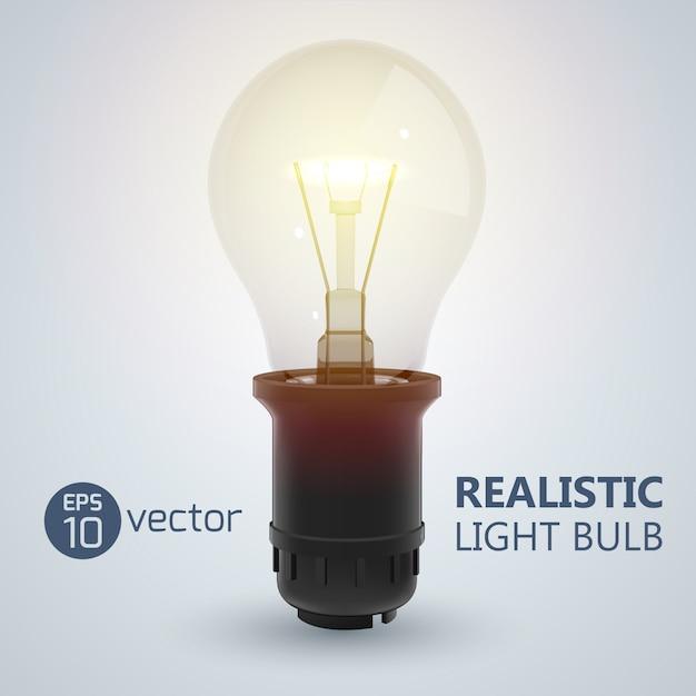 Квадрат с реалистичным изображением светящейся лампы накаливания, вкрученной в колбу, с редактируемым текстом на яркой иллюстрации Premium векторы