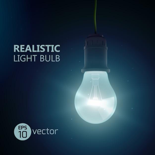 Квадрат с реалистичной люминесцентной лампой, висящей на проводе, светится в темной комнате с иллюстрацией заголовка editabe Premium векторы
