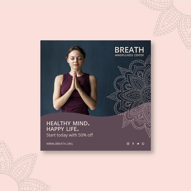 Volantino quadrato per meditazione e consapevolezza Vettore gratuito