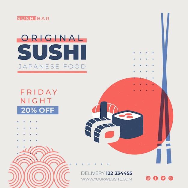 Шаблон флаера в квадрате для суши-ресторана Бесплатные векторы