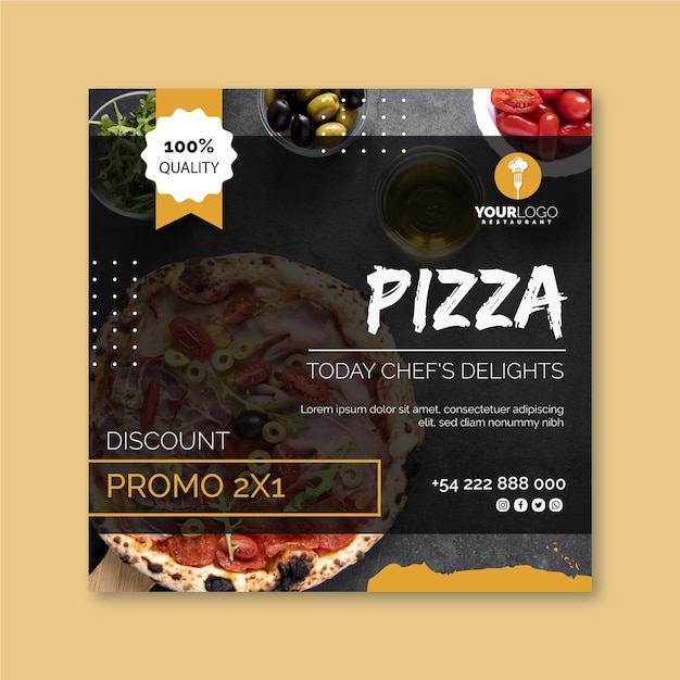 Squared flyer template for pizza restaurant Premium Vector