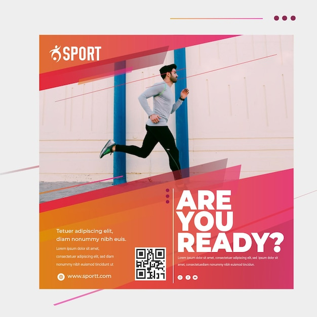 Squared flyer template for sports activity Free Vector