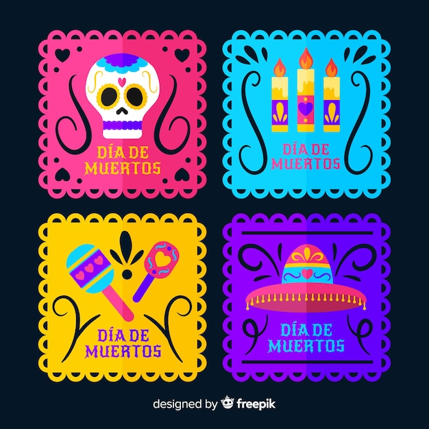 Squared label collection for dia de muertos event Free Vector