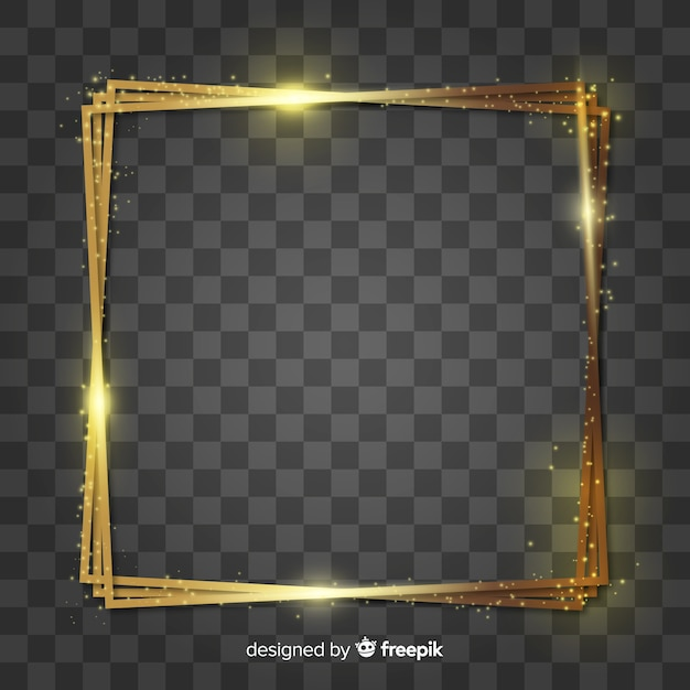 Squared realistic golden frame Free Vector