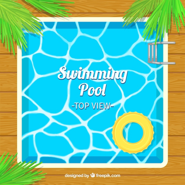 Squared swimming pool with palm leaves