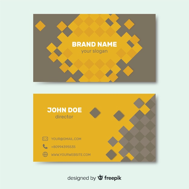 Squares business card Free Vector