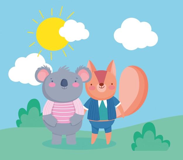 Squirrel and koala with sun Premium Vector