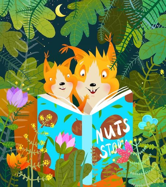 森の中でリスの母親と赤ちゃんが勉強と学習をしている彼女の子に物語の本を読んでいます。 Premiumベクター