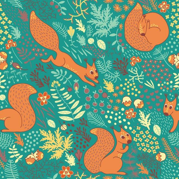 Squirrels pattern in the woods Premium Vector