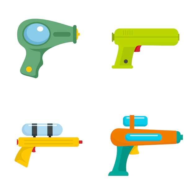 Squirt gun water pistol game icons set Premium Vector
