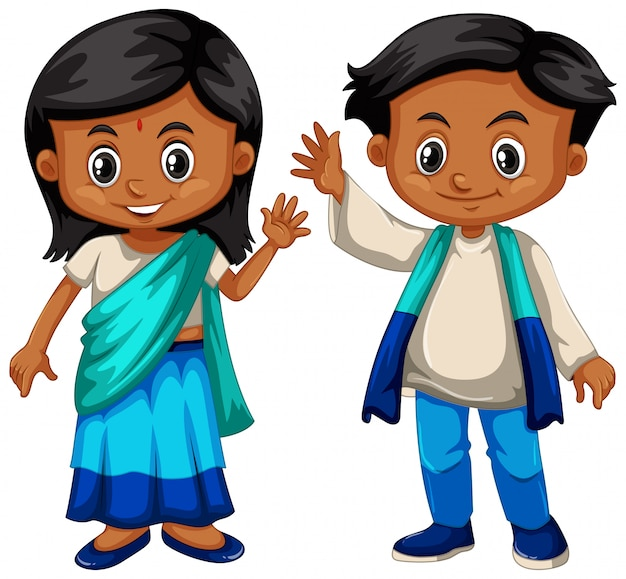 Sri lanka boy and girl in traditional costume Free Vector