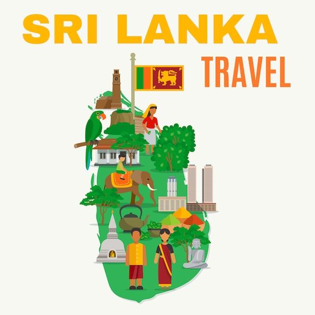 Sri lanka flat illustration Free Vector