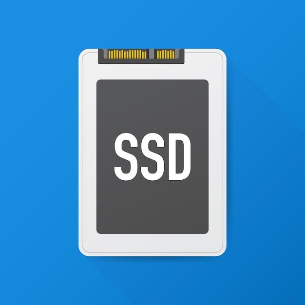 Твердотельный накопитель, ssd-полигон, компьютерное устройство, жесткий диск. векторная иллюстрация Premium векторы