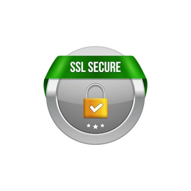 Ssl secure protection symbol. ssl security transaction button with ribbon. lock guard design icon. Premium Vector
