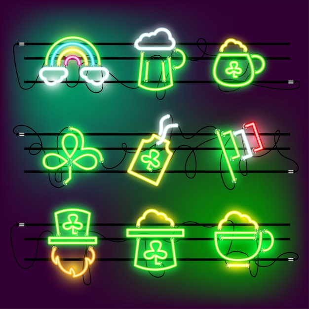 St partricks day icon set neon in effect. Premium Vector