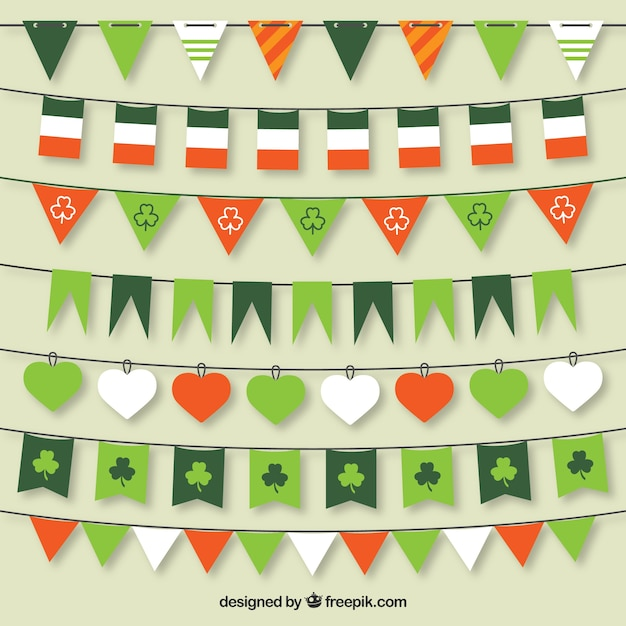 St patrick bunting flags collection Free Vector