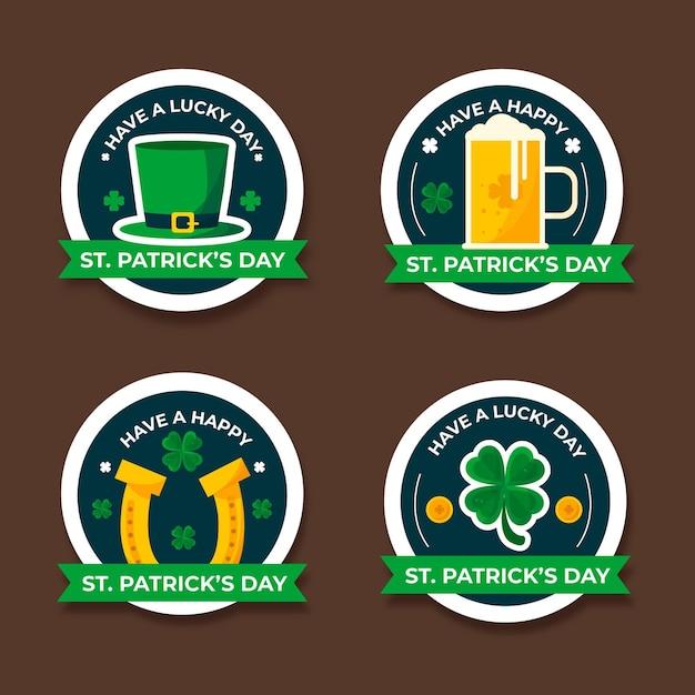 Collezione di badge per il giorno di san patrizio Vettore gratuito