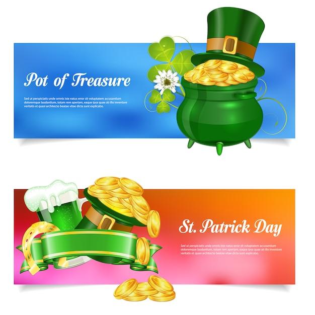 St. patrick day banner set Premium Vector