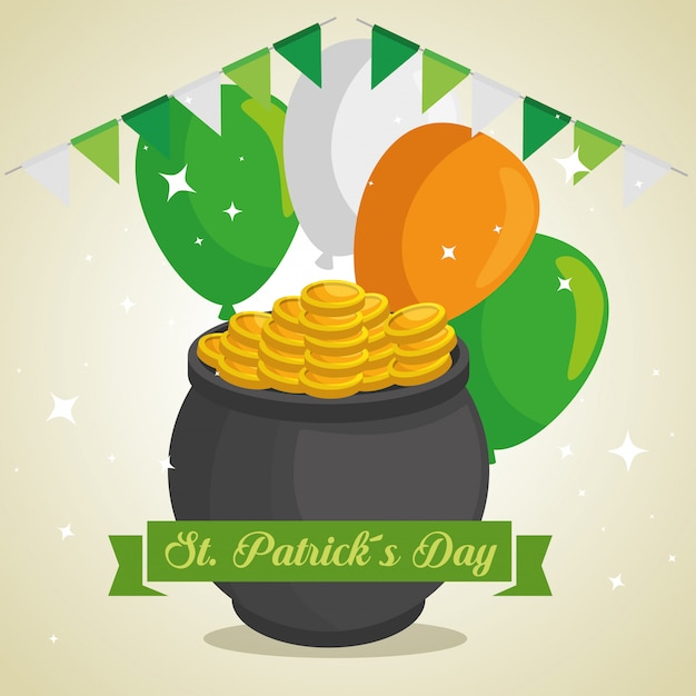 St patrick day cauldron with coins and balloons Free Vector