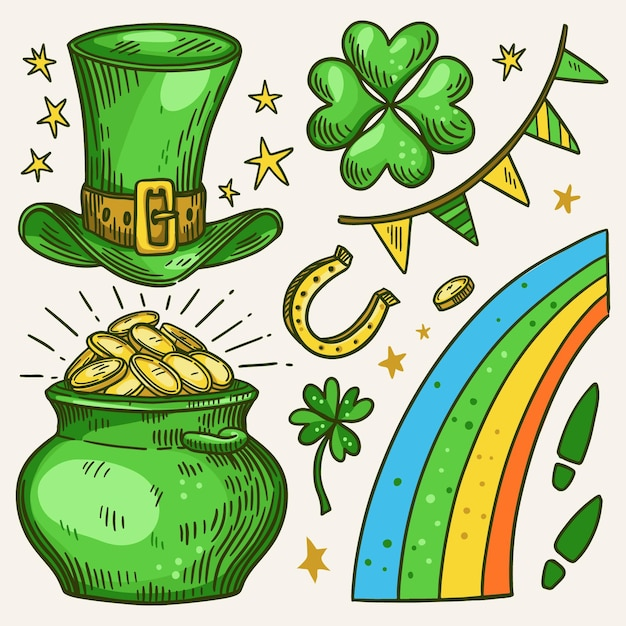 St patrick day element collection Free Vector