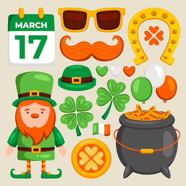 St. patrick day elements Free Vector