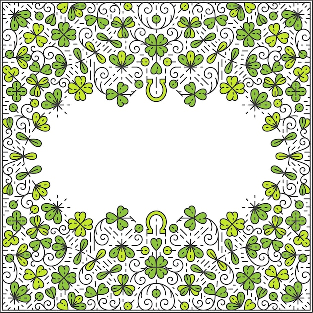St patrick day frame, ornamental line background, monoline style. Premium Vector