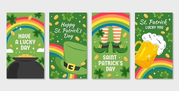 St patrick day instagram stories Free Vector