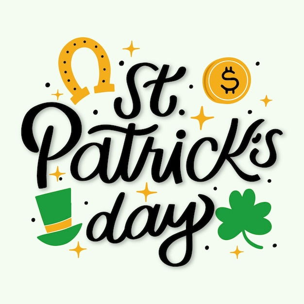 St patrick day lettering Free Vector