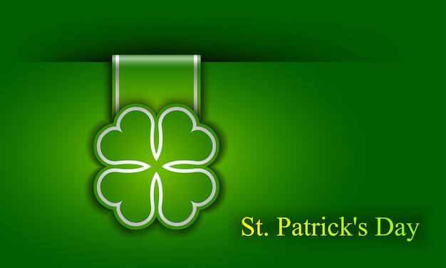 St. patrick day poster. a cloverleaf and greeting inscription in green colors. Premium Vector