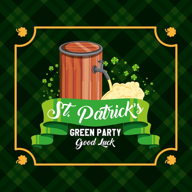 St patrick day with barrel beer and ribbon Premium Vector