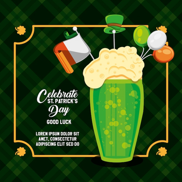 St patrick day with beer glass Premium Vector
