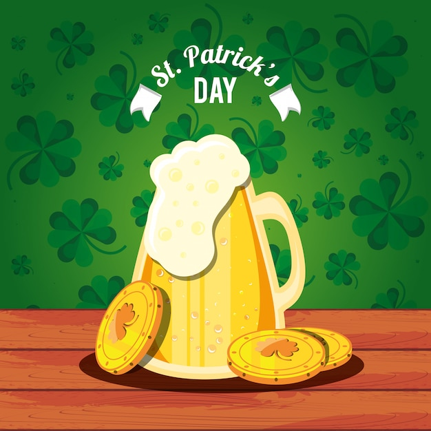 St patrick day with beer jar and coins Premium Vector