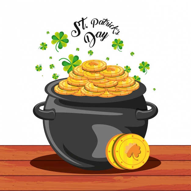 St patrick day with cauldron and coins Premium Vector